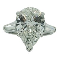 Platinum 5.04 Carat Pear Shaped Diamond Engagement Ring