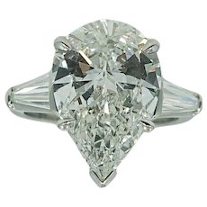 Platinum 5.04 Carat Pear Shaped Diamond Engagement Ring