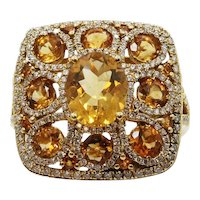 18K Yellow Gold Ring With Citrine