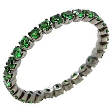 18K White Gold Tsavorite Eternity Band