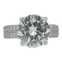 Platinum 5.13 Carat Round Brilliant Diamond RIng