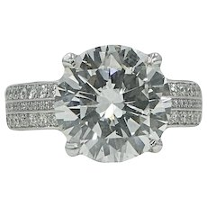 Platinum 5.13 Carat Round Brilliant Diamond RIng