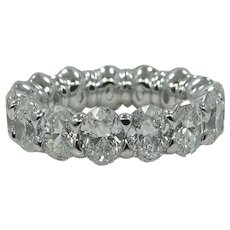 Platinum 7.38 Oval Cut Diamond Eternity Band