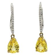 14K Yellow And White Gold Yellow Sapphire And Diamond Earrings