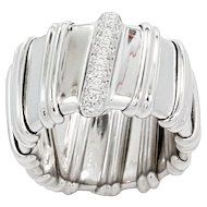 18K White Gold Nabucco Ring With Diamonds