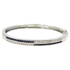 Platinum Sapphire And Diamond Bangle