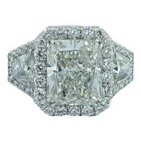 Platinum 4.25 Radiant White Diamond Ring