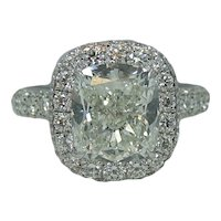 Platinum 4.35 Cushion Cut Diamond Engagement Ring