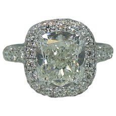 Platinum 4.35 Cushion Cut Diamond Engagement Ring