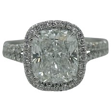 Platinum 3.08 Carat Cushion Cut Diamond Engagement Ring