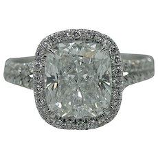 Platinum 3.08 Carat Cushion Cut Diamond Engagement Ring