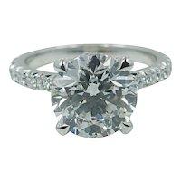 Platinum 3.42 Round Brilliant Diamond Engagement Ring
