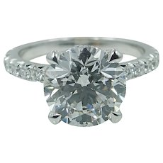 Platinum 3.42 Round Brilliant Diamond Engagement Ring