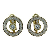 "18K Yellow Gold Roberto Coin Cento ""O"" Collection Pave/Cento Diamond Earrings"