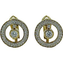 """18K Yellow Gold Roberto Coin Cento """"O"""" Collection Pave/Cento Diamond Earrings"""