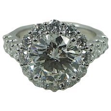 Platinum 3.06 Carat Round Brilliant Diamond Engagement Ring