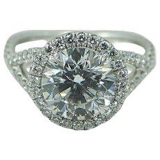 Platinum 2.52 Carat Round Brilliant Diamond Engagement Ring
