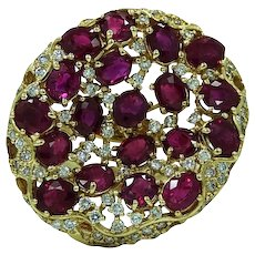 Burmese Ruby and Diamond Yellow Gold Ring