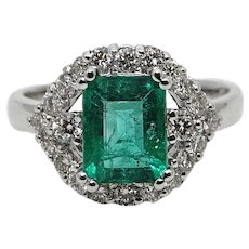 1.83 Carat Emerald Diamond White Gold Ring