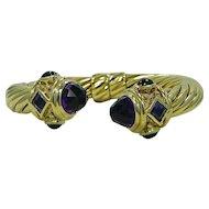David Yurman Amethyst and Malachite Renaissance Bracelet