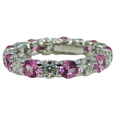 18K White Gold Estate Roberto Coin Cento Diamond And Pink Sapphire Eternity Band