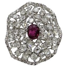 14K White Gold Diamond and Burmese Ruby Ring