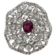 14K White Gold Diamond and Burmese Ruby Ring