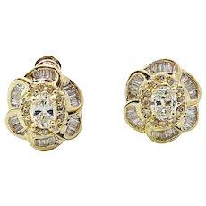 1.75 Carat Diamond Yellow Gold Earrings