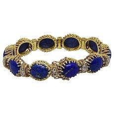 18K Yellow Gold La Triomphe Oval Lapis and Diamond Bracelet