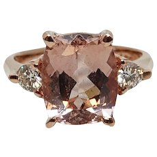 14K Rose Gold Morganite and Diamond Ring