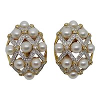 Diamond Pearl Yellow Gold Earrings