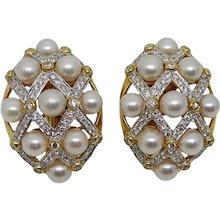 Diamond Pearl Yellow Gold Earrings