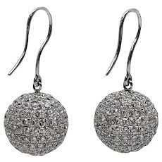 5.00 Carat Pave Diamond White Gold Earrings