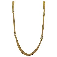 Multi Chain Yellow Gold Necklace with Diamond Stations