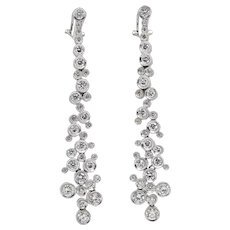 18K White Gold Diamond Bubble Drop Earrings