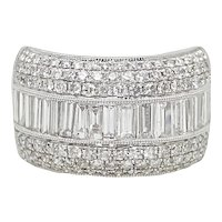 2.48 Carat Baguette Diamond and Round Diamond White Gold Ring