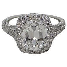 3.02 Carat Cushion Cut Diamond Platinum Ring