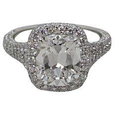 3.02 Carat Cushion Cut Diamond Platinum Ring