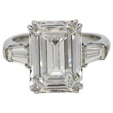 7.08 Carat GIA Certified Emerald Cut Diamond Platinum Ring