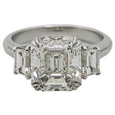 5.02 Carat Emerald Cut Diamond Platinum Ring