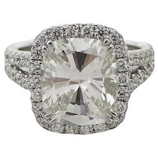 4.91 Carat Cushion Cut Diamond Platinum Ring