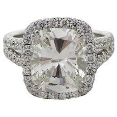 4.91 Carat Cushion Cut Diamond Platinum Ring