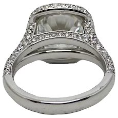 4.01 Carat GIA Round Brilliant Diamond Pave Halo Platinum Ring