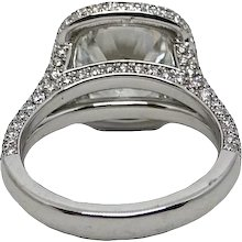4.01 Carat GIA Round Brilliant Diamond Pave Halo Platinum Ring