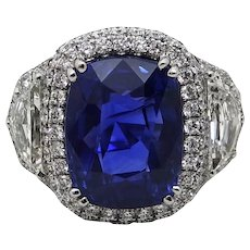11.49 Carat Cushion Cut Sapphire Diamond Platinum Ring