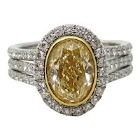3.01 Carat Yellow Oval Cut Diamond Platinum Ring