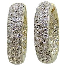 5.00 Carat Pave Diamond Hoop Yellow Gold Earrings