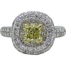 Platinum and 18K Yellow Gold Cushion Cut Yellow Diamond Ring