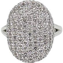2.10 Carat Pave Diamond White Gold Ring