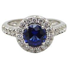 1.53 Carat Sapphire and Diamond Platinum Ring